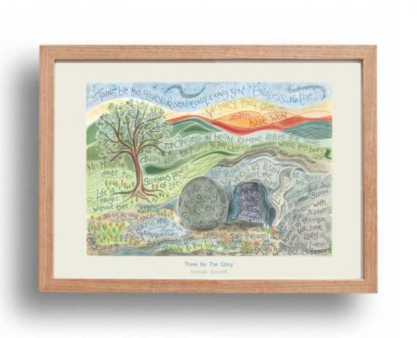 Hannah Dunnett Thine be the glory A3 Poster oak frame