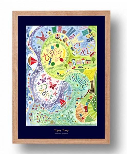 Hannah Dunnett Topsy Turvy A3 Poster oak frame