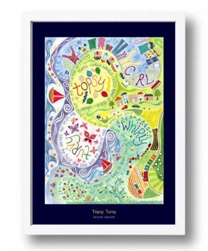 Hannah Dunnett Topsy Turvy A3 Poster white frame