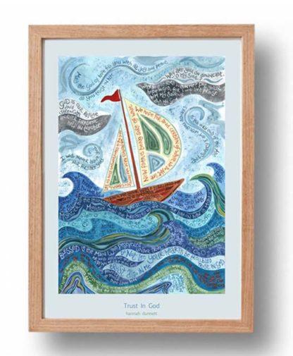 Hannah Dunnett Trust in God A3 Poster oak frame
