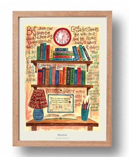 Hannah Dunnett Wisdom A3 Poster cream background oak frame