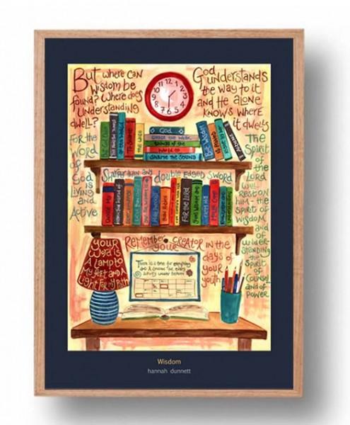 Hannah Dunnett Wisdom A3 Poster oak frame
