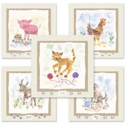 Hannah Dunnett kids animals mix and match cards