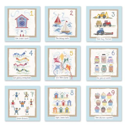Hannah Dunnett kids number cards blue background mix and match