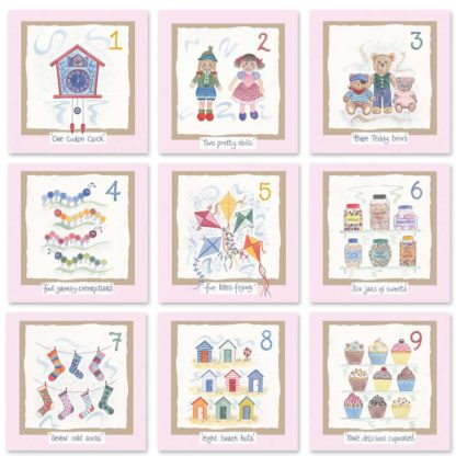 Hannah Dunnett kids number cards pink background mix and match