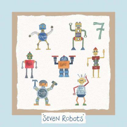 Hannah Dunnett number seven card robots blue background