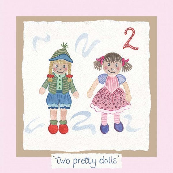 Hannah Dunnett number two card pretty dollies pink background