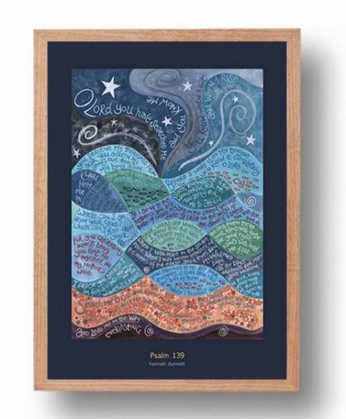 Hannah Dunnett psalm 139 A3 Poster oak frame