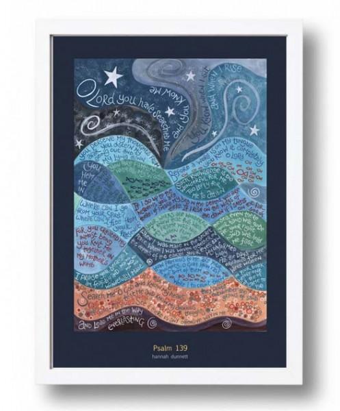 Hannah Dunnett psalm 139 A3 Poster white frame