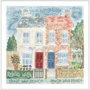 Hannah Dunnett Love Your Neighbour notecard with border