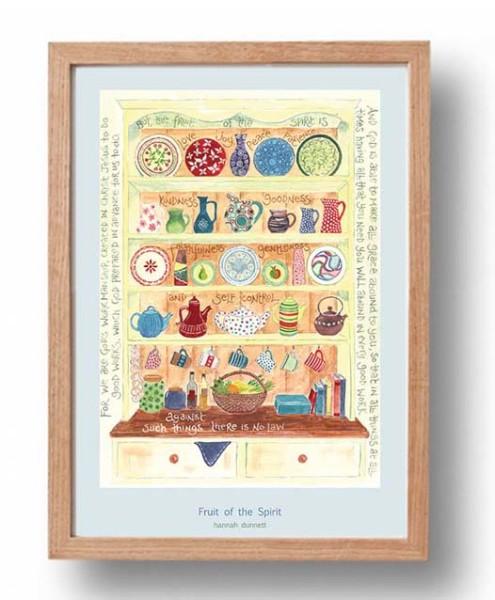 Hannah Dunnett Fruit of The Spirit A3 Poster oak frame