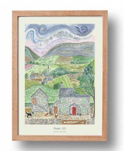 Hannah Dunnett Psalm 121 A3 Poster oak frame