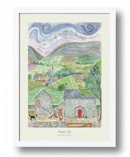 Hannah Dunnett Psalm 121 A3 Poster white frame