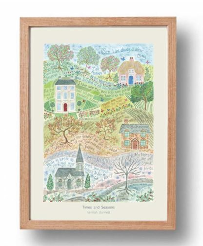 Hannah Dunnett Times and Seasons A3 Poster oak frame