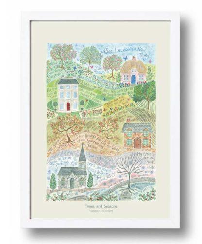 Hannah Dunnett Times and Seasons A3 Poster white frame