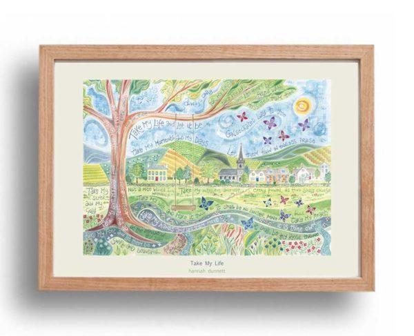 Hannah Dunnett Take My Life A3 Poster oak frame