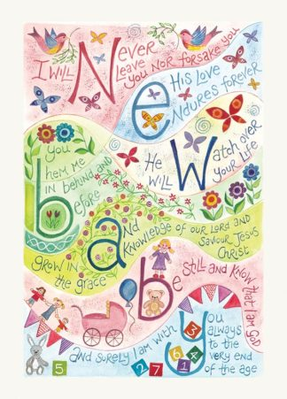 Hannah Dunnett New Baby Pink version greetings card