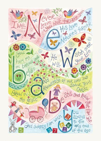 Hannah Dunnett New Baby Pink version greetings card