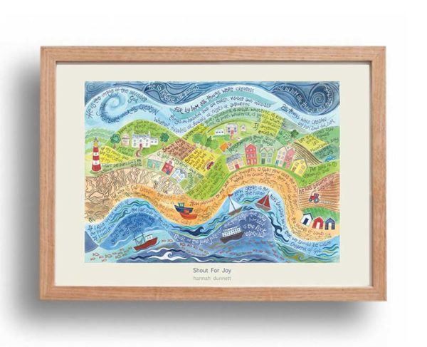 Hannah Dunnett Shout for Joy A3 Poster oak frame