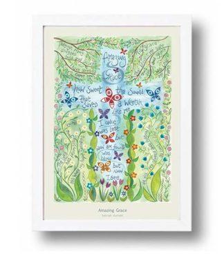 Hannah Dunnett Amazing Grace A4 poster white framed