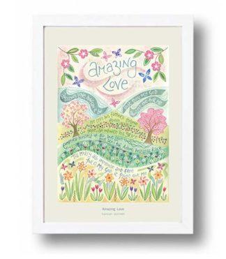 Hannah Dunnett Amazing Love A4 poster white framed