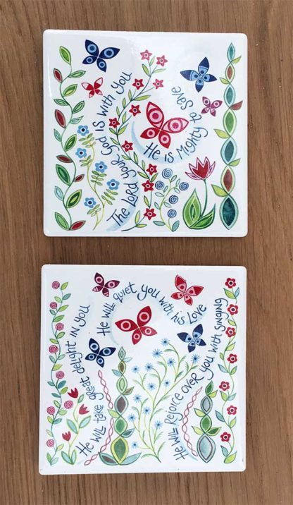 Hannah Dunnett Great Delight and The Lord is with you coasters image