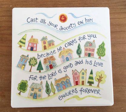 Hannah Dunnett Cast Your Cares on Him Coaster image