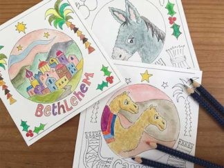 Hannah Dunnett Christmas Colouring Cards coloured in picture