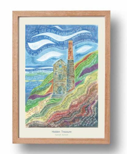 Hannah Dunnett Hidden Treasure A3 Poster oak frame