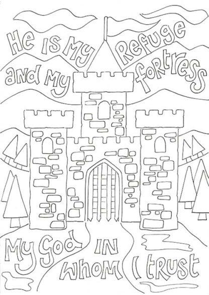 Hannah Dunnett Kids colouring book He is my refuge image