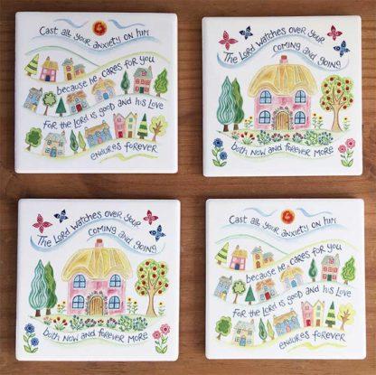 Hannah Dunnett houses Coasters pack of 4 image