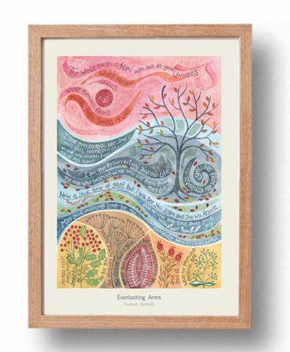 Hannah Dunnett Everlasting Arms A3 Poster oak frame