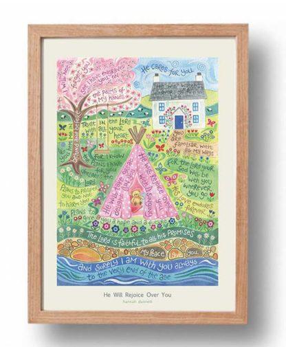 Hannah Dunnett He Will Rejoice Over You A3 Poster oak frame