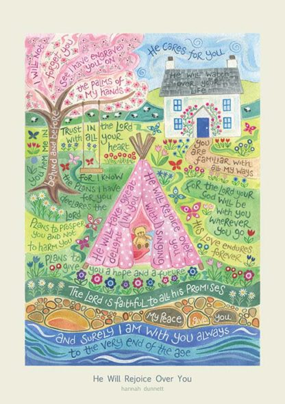 Hannah Dunnett He Will Rejoice Over You greetings card and poster