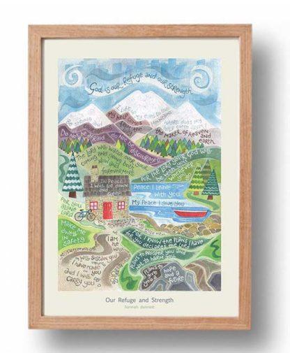 Hannah Dunnett Our Refuge and Strength A3 Poster oak frame