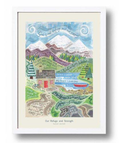 Hannah Dunnett Our Refuge and Strength A3 Poster white frame