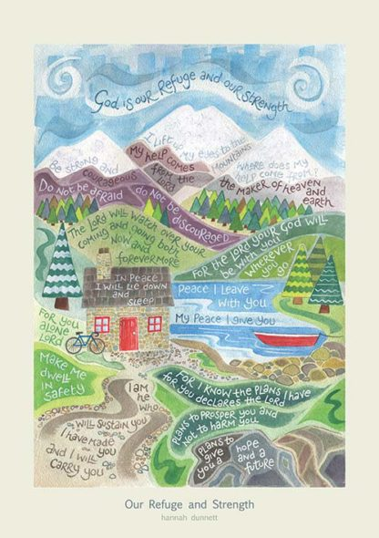 Hannah Dunnett Our Refuge and Strength greetings card and poster