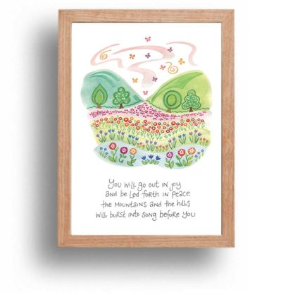 Hannah Dunnett Burst Into Song print wood frame