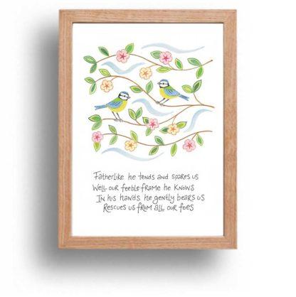 Hannah Dunnett He Gently Bears Us print wood frame