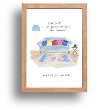 Hannah Dunnett I Will Give You Rest print wood frame