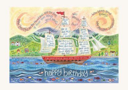 Hannah Dunnett Happy Birthday Card Tall Ship Design