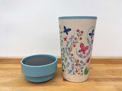 Hannah Dunnett reusable mug close up with lid removed