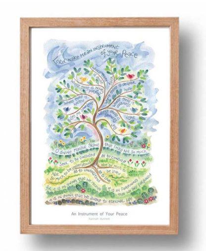 Hannah Dunnett An Instrument of Your Peace A3 Poster oak frame