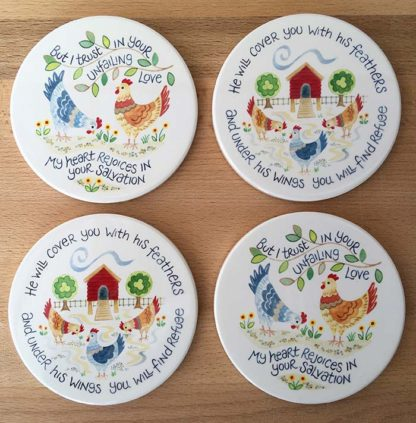 Hannah Dunnett Chickens Coasters pack of 4 image
