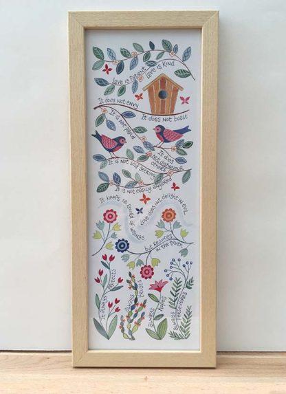 Hannah Dunnett Love is Patient Slimline Print framed