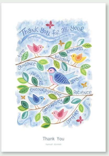 Hannah Dunnett Thank You Birds Design greetings card