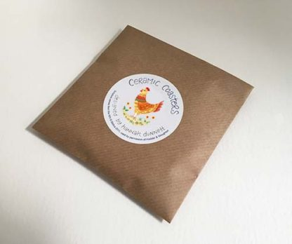 Hannah Dunnett chickens coasters envelope