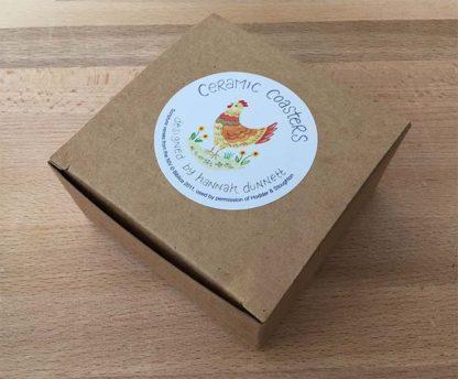 Hannah Dunnett chickens coasters gift box image