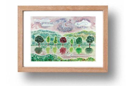 Hannah Dunnett Be Still A4 poster oak framed