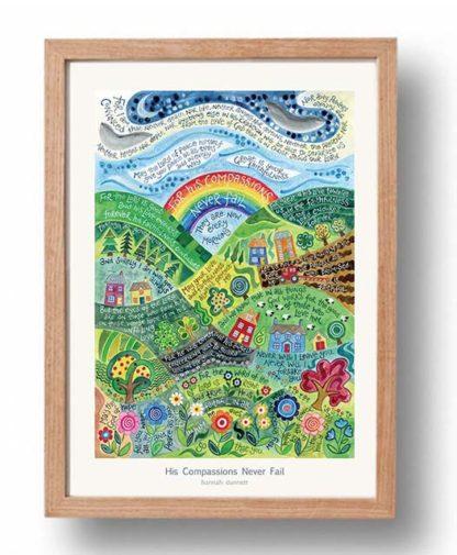 Hannah Dunnett His Compassions Never Fail A3 Poster oak frame